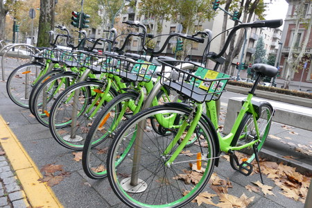 Bike sharing gobee innovative no docking station system to lock the bycicle locker integrated to leave everywhere the bike Turin Italy November 8 2017