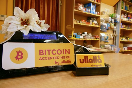 First bitcoin accepting store in town Turin Italy 23 January 2018 Editorial
