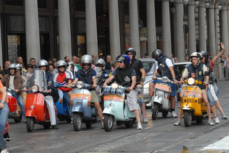 Motorcycle rally of vintage italian scooters