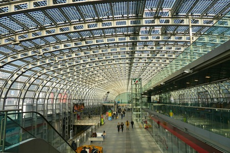 Porta Susa station Green technology Solar panel structure integrated into the glass roof Turin Italy 23 January 2018