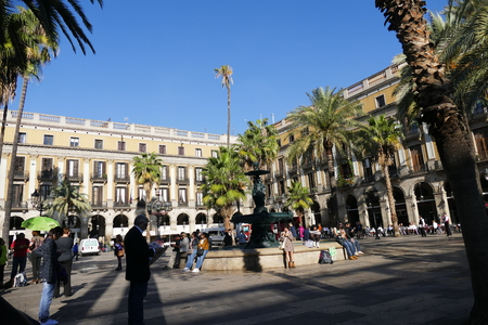 Barcelona Spain circa November 2016 Reial square Editorial