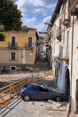 Earthquake building damages Aquila Italy circa August 2009 Editorial