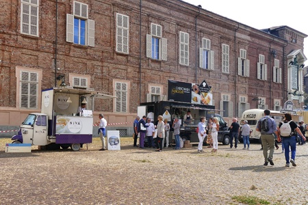 Food truck festival, market place in the square a proposing various italian food downtown Turin Italy September 22 2017 Editorial
