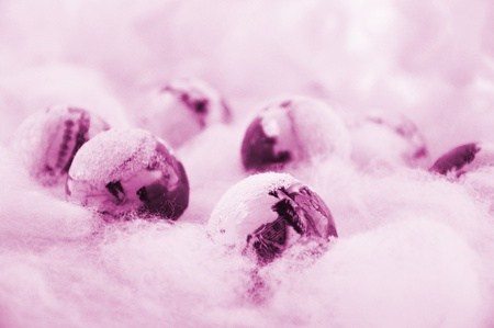 Pink Christmas Snow Stock Photo