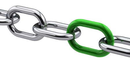 Chrome chain with a green link