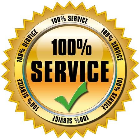 best service: 100 percent service button Stock Photo