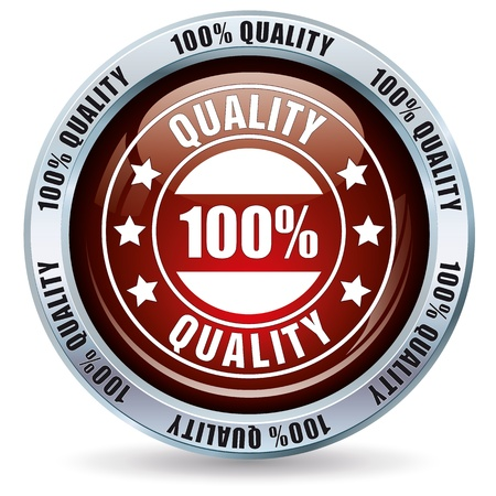 best quality: Red 100 percent quality button Stock Photo