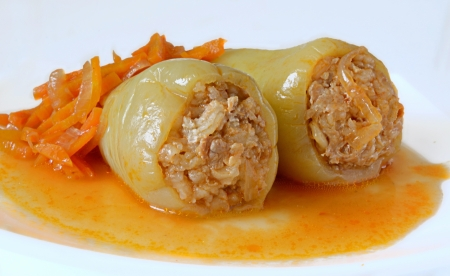 peppers stuffed with meat and rice photo
