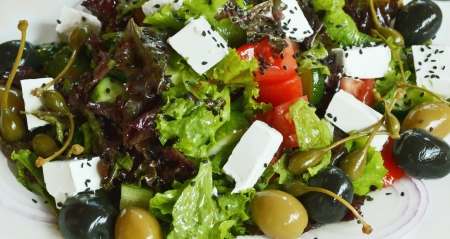 Greek salad, dietetic food photo