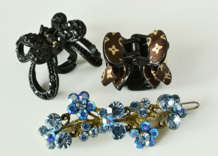 bronze with crystals and plastic hair clips Stock Photo