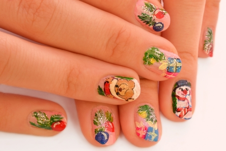 Christmas manicure Stock Photo
