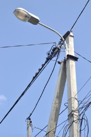 street lamp with wires photo