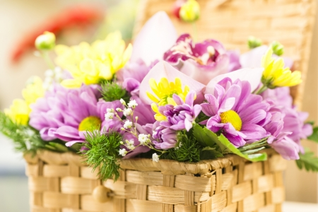festive basket with flowers