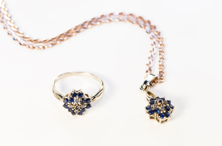 gold jewelry with sapphires photo