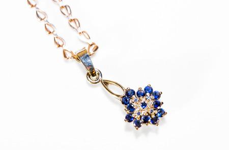 pendant with sapphires macro photo