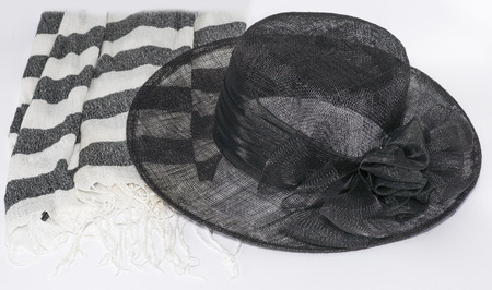 swimsuite: black womens summer hat and silk scarf