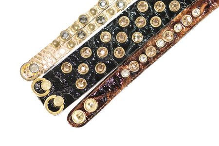womens leather bracelets with crystals photo