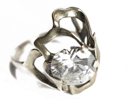 appraising: silver ring with cubic zirconia macro