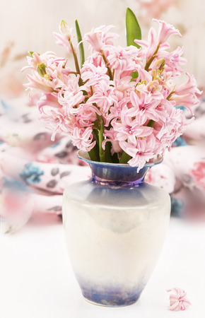 bouquet of hyacinth in vase on the table photo
