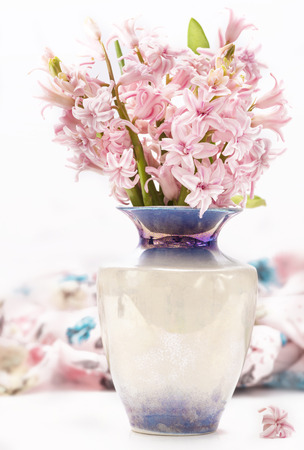 bouquet of pink hyacinth decorated cloth  photo