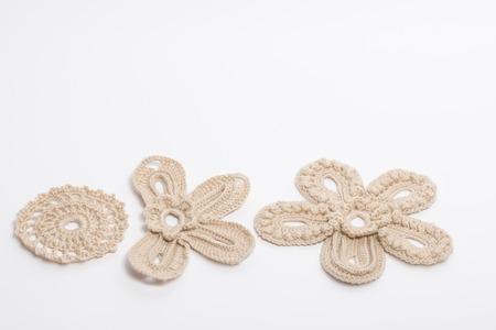 elements and flowers, crochet macro photo