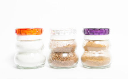 glass jars with spices photo