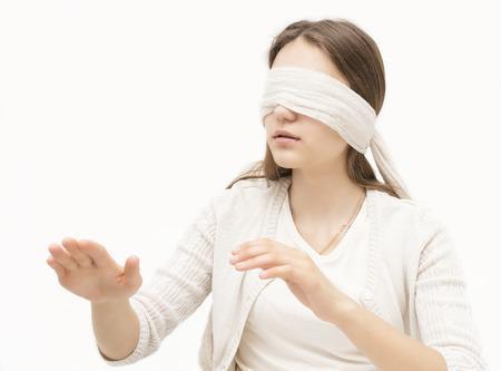 girl blindfolded photo