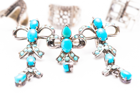 Silver jewelry with turquoise