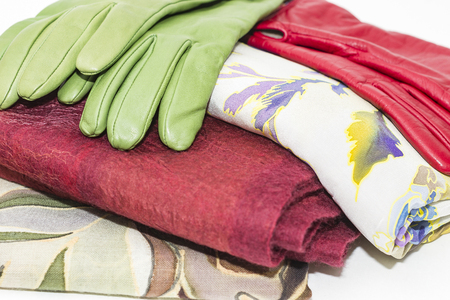 Wool Scarves and Leather Gloves Stock Photo
