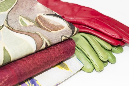 green and red leather gloves and scarves