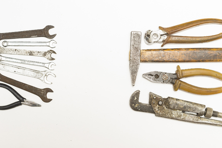 rusty and old repair tools on white background Banco de Imagens