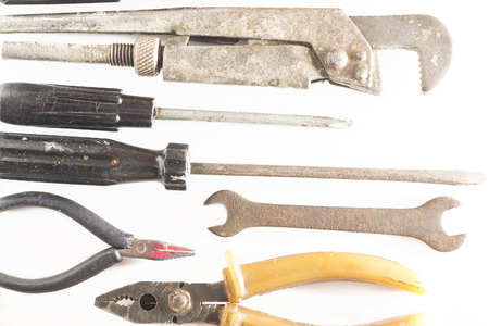 rusty screwdrivers and other old tools close up