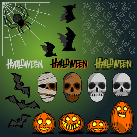 Halloween set vector illustration with flat characters and seamless white skull pattern on green background Illustration