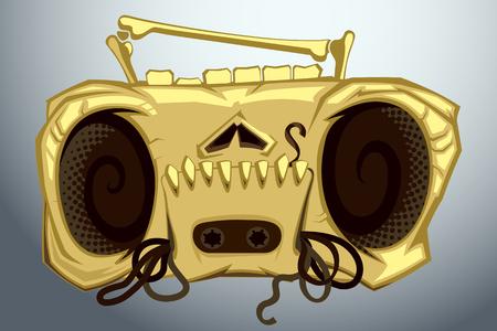 cassette tape: Skull of broken tape recorder with cassette tape in mouth. cartoon illustration