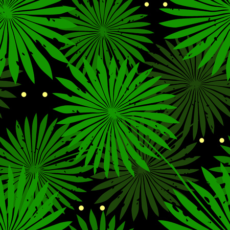 Tropical background with green palm leaves and eyes. Seamless floral pattern