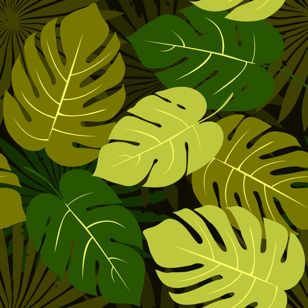 Tropical background with green leaves. Seamless floral pattern