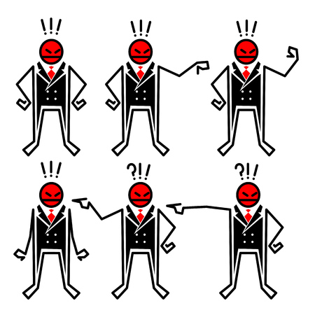 Characters of the angry boss in different poses Illustration