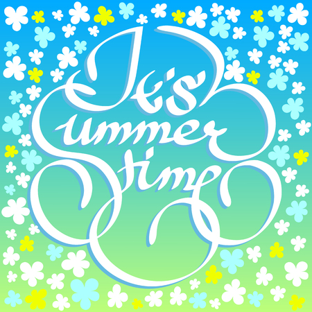 Its summer time text on a blue background with small flowers.