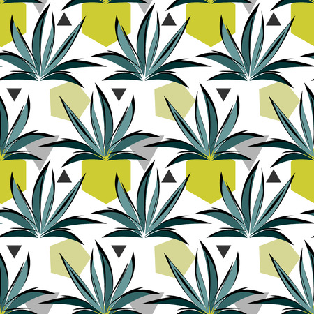 Seamless vector pattern with grass and geometric shaped stones