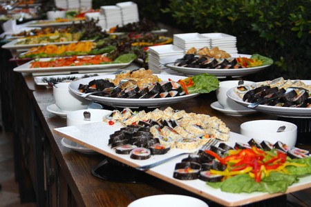 susi: food table with susi Stock Photo