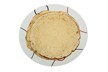 a plate of pancakes  isolated on white