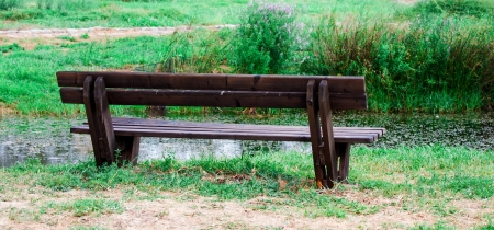 empty bench by the pond photo