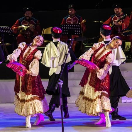 KARMIEL, ISRAEL - AUGUST 8: performance of the Cossacks show on August 8, 2012 in Carmiel, Israel. Karmiel dance festival performance  in Karmiel Cultural Center