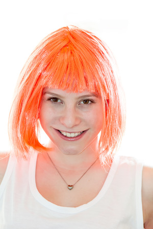 Happy pretty girl with orange hair photo