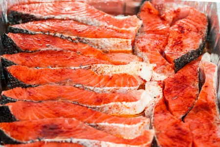 Frying salmon