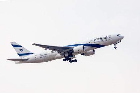 TEL AVIV, ISRAEL - JULY 12: EL AL Boeing 777 lands at  the Ben Gurion International Airport  on July 12, 2013  in Tel Aviv, Israel. It seats 451 passenger. Editorial