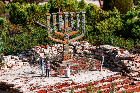 knesset: Miniature of the Knesset Menorah in Mini Israel.Its miniature park featuring over 385 replica models of Israels most important landmarks at a scale of 1:25