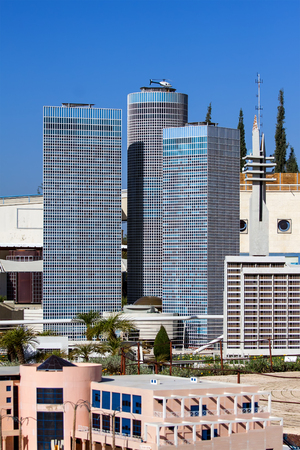 azrieli: Miniature of the Azrieli Towers in Mini Israel.Its miniature park featuring over 385 replica models of Israels most important landmarks at a scale of 1:25 Stock Photo