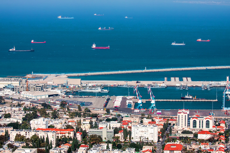 sea seaport: Haifa port - the largest seaport in Israel and one of the largest ports in the Mediterranean sea