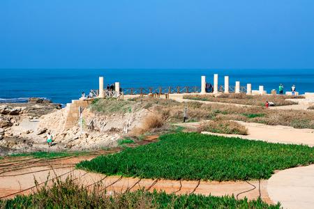 caesarea: Mediterranean sea coast,view of the ruins  Caesarea, Israel Stock Photo